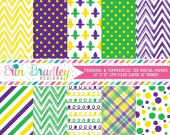 80% OFF SALE Purple Yellow Green Digital Paper Pack with Chevron Stripes Polka Dots Plaid & Doodle Patterns Commercial Use OK