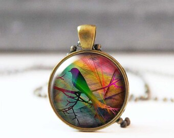 Starling on branch Art necklace, Round Image pendant, Nature inspired jewelry, Wearable art, Nature lover gift, 5018-2, Mother's day gift