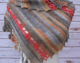 Crocheted Scarf Wrap Shawl Alpaca Rayon Ready To Ship Free Shipping