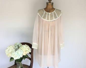 Baby Doll Negligee, Vintage Nylon Peignoir, 1960s Blush Pink Robe, Short Sheer Robe, Size Large Peignoir