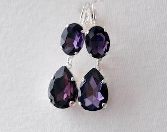 18th Century Reproduction Purple Drop Earrings. Dark Amethyst Rhinestone, Paste Glass, Silver. Colonial, Regency, Victorian, 19th Century
