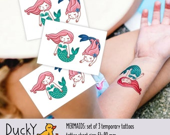 Set of 3 temporary tattoos «Mermaids». Mermaid party favors and goodie bag fillers. Under the sea kids birthday party supplies TT188