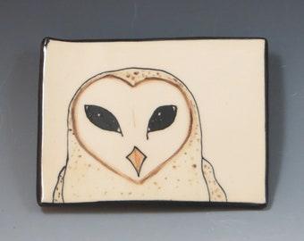 Handbuilt Ceramic Soap Dish with Bird - Barn Owl