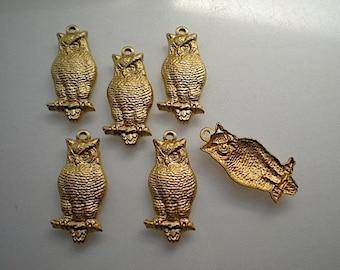 6 brass owl charms