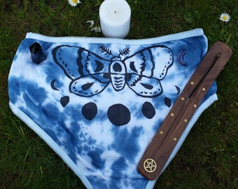 Hand printed- high waisted- Moth- Moonphase Panties. Goth underwear- Wicca underwear- Witch underwear- one of a kind- hand dyed-size small
