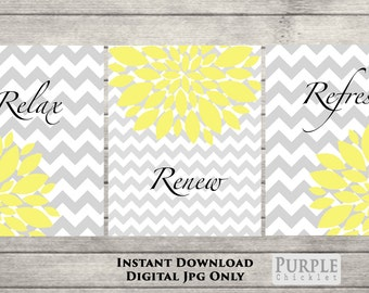 Flower Bursts Relax Renew Refresh Set Printable Wall art Chevron Gray Yellow Room Decor 8x10 Digital JPEG Files Instant Download (72)