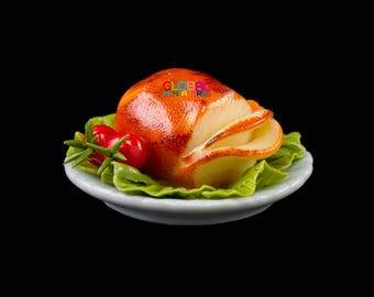 Dollhouse Miniatures Thanksgiving Meal Dish of Sliced Roasted Chicken with Tomato Food Decorating Supply - 1:12 Scale