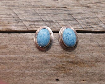 Sterling Silver & Blue Angelite Post Earrings