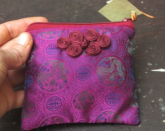 "Peck ""Dragon Silk and brick"" Silk lined cotton pouch wallet"