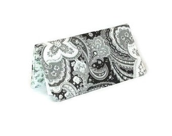 Fabric Checkbook Cover - Paisley Checkbook Cover - Grey Paisley and Floral Check Book Cover - Chequebook Cover - Money Envelope - Gift Idea