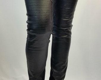 Black Long Faux Leather Leggings, Women Stretch Leggings, Skinny Leather Pants / MD 10074