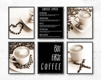 Coffee Prints Set of 6, Coffee art, wall art set coffee lover gift idea, Kitchen Room Print, Dining Room Wall Art