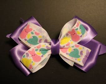 Girl's Hairbow, Easter Peeps stacked hair bow