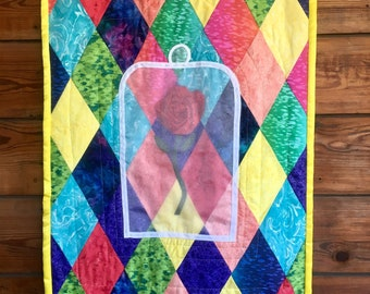 Beauty and the Beast Inspired Quilt, Enchanted Rose Wall Art, Lap Quilt, Beauty and the Beast Nursery Bedding