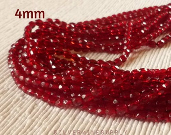 4mm Faceted Red Glass Beads - Garnet Red Beads - Red Glass Beads - Wrap Bracelet Beads - Czech Beads - Garnet Red Faceted Beads - Preciosa