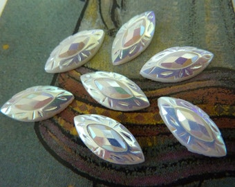 6 glass cabochons, 15x7mm, white AB, navette, horse eye, rice shape