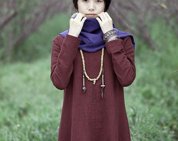 Women long dress - Long sleeves Dress - Round neck - Spring/Autumn dress - Linen dress - Made to order