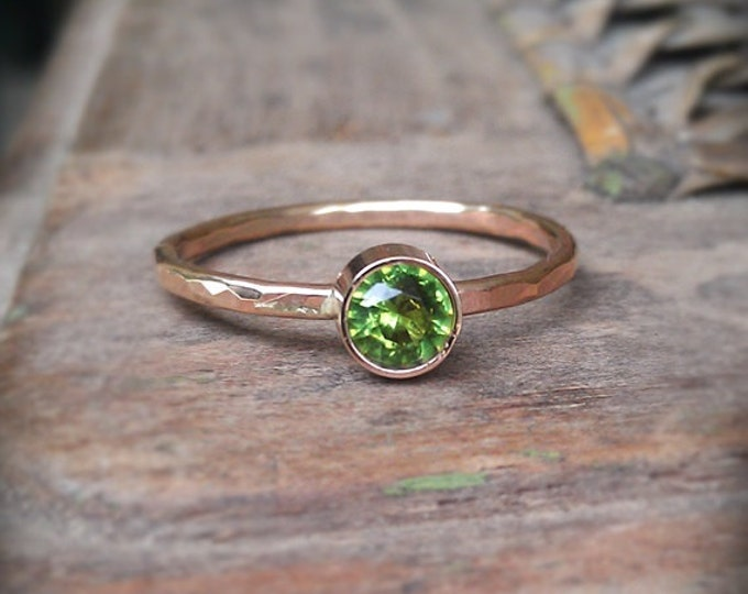 Peridot Stacking Ring, hammered 14k gold filled, solid gold bezel set