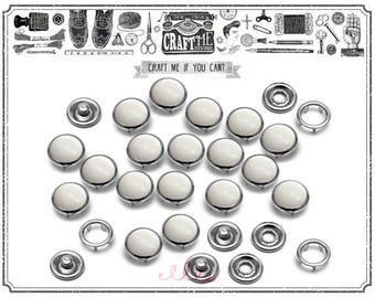 20SETS 10MM WHITE Fashion Pearl Snaps Fasteners for Western Shirt Clothes Popper Studs