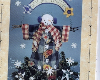 "Homespun at Heart Designs Sewing Pattern - 11"" Tall Snowman, 3"" Tall Christmas Ornament Wintery Welcome Uncut"