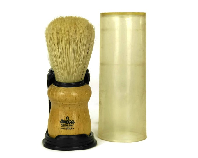Vintage Omega Shaving Brush. Natural Bristles. Made in Italy. Mens Accessory. Facial Hair Care. Beards and Mustaches Grooming. Cave man Gift