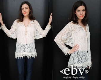 Vintage 80s Sheer Lace Batwing Blouse Top S M Lace Blouse Sheer Blouse Lace Top Lace Shirt Scalloped Lace Sheer Top