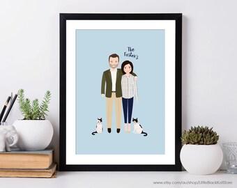 Custom Couple Portrait illustration | Engagement Announcement | 2 person Illustration | Anniversary Gift | Personalised Portrait