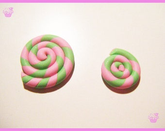 Lot 2 lollipops sweet treats candy charm polymer clay cabochons