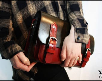 Two-tone satchel shoulder bag