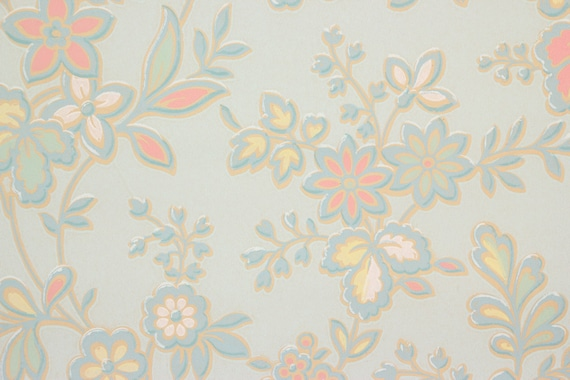 1930s Vintage Wallpaper Pink Yellow White Flowers On Light Blue By The Yard From RosiesWallpaper Etsy Studio
