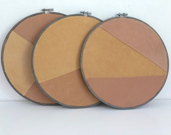 Wall decoration//embroidery//Yellow & Dark Salmon leather//Ø26 cm//3 pieces