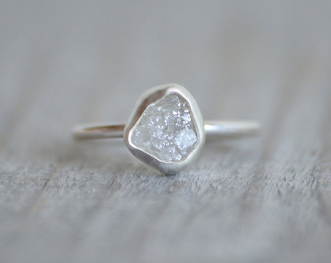 Raw Diamond Engagement Ring, 1.45ct Light Grey Raw Diamond Ring, Handmade In England