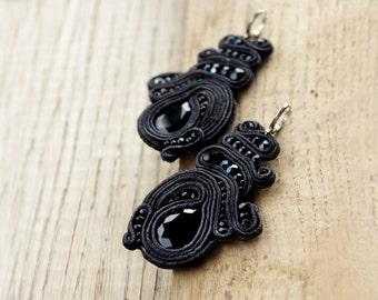 Soutache earrings, Boho gift for wife Black chandelier earrings, soutache jewelry Special occasions earrings Drop earrings statement jewelry