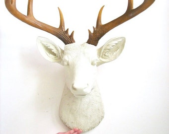 XL Deer Head CREAM with natural-looking antlers Faux Taxidermy Stag Head wall mount hanging home decor:  Doug the XL Deer Head