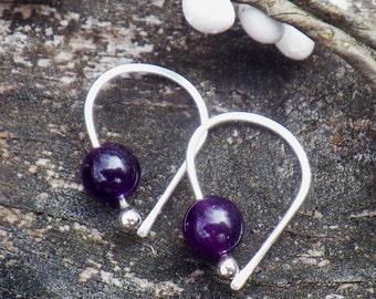 Amethyst earrings / sterling silver earrings / gift for her / February birthstone / silver dangle earrings / tiny earrings / jewelry sale