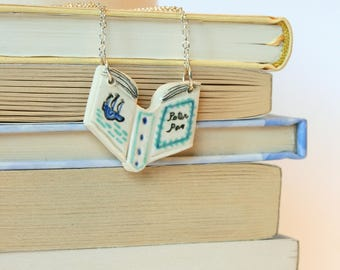 Peter Pan Book Necklace (silver chain)