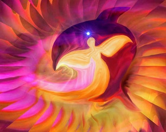 "Angel Art, Yellow Gold Dolphin Print, Energy Swirl Decor ""Golden Age of Dolphins"""