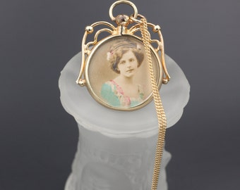 Edwardian Photo Locket, Edwardian Photo Necklace, Antique Double Sided Locket, Antique Edwardian Photos, Antique Photo Jewelry