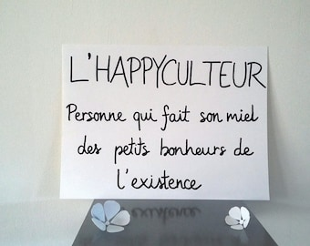 """inspirational """"happyculteur""""poster illustrated by hand"""