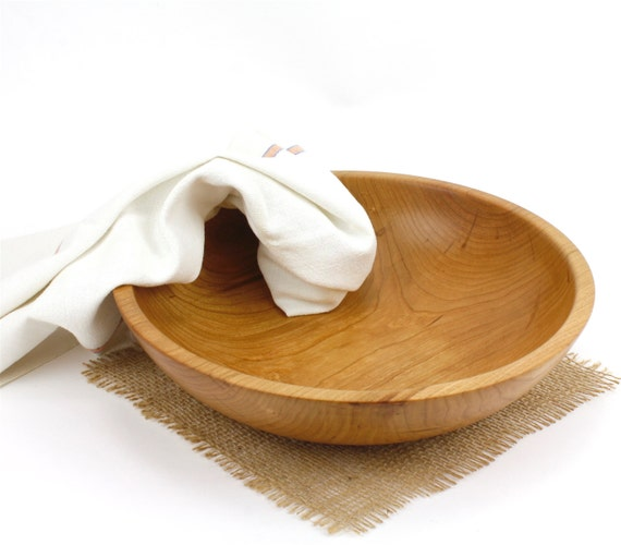 Wooden Shallow Cherry Salad Bowl, Fruit Bowl, Pasts Bowl