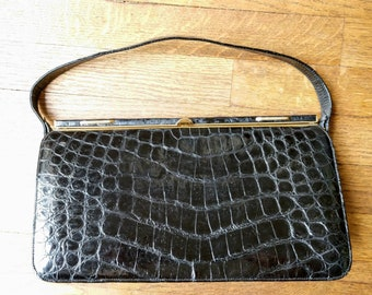 Midcentury handbag black alligator hide clasp top 60's glam chic