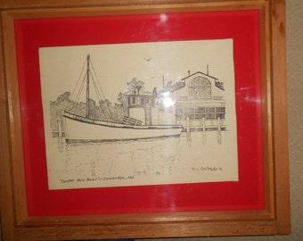 Cambridge MD Artist R L Collins Original Pen Ink Drawing Oyster Buy Boat Wood Frame