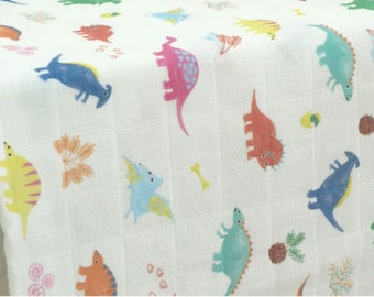 Double Gauze Fabric Dinosaur By The Yard