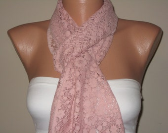 Pink scarf, light pink scarf, dusty pink lace scarf, lace scarf