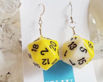 READY TO SHIP D20 Twenty Sided Dice Earrings - Yellow and White with Black Numbers - Geeky Gamer Jewelry