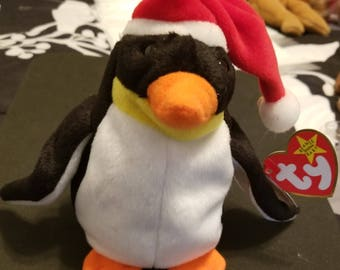 TY Beanie Babies Zero the Penguin w/ Red & White Santa Hat /Retired 1998 /Vintage