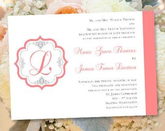 Coral wedding invite Etsy