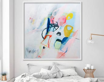 Fresh Beautiful Large Abstract Print from Acrylic painting, white giclee Canvas Art with multicolor by Duealberi