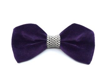 Frozen Velvet Collection-bow tie Purple-white | Black spots