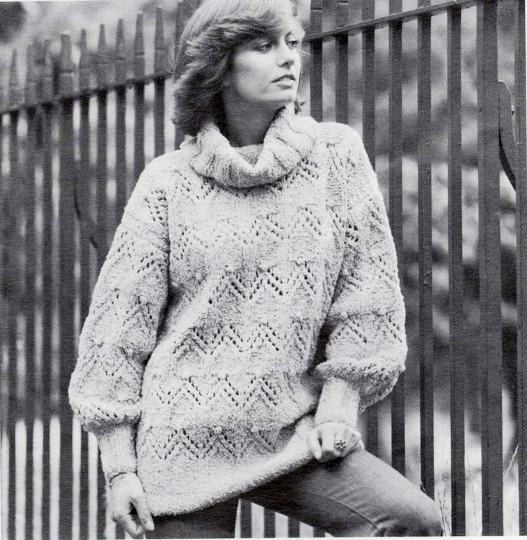 00ba8c778 ALMOST FREE Instant PDF Download Vintage Row by Row Knitting Pattern Ladies  Oversize Loose Fit Aran Style Sweater or Tunic Dress 32-38 from ickythecat  on ...